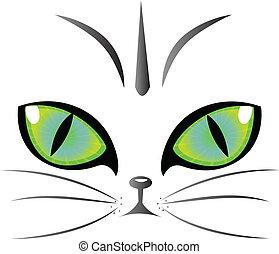 gato, ojos, logotipo, vector