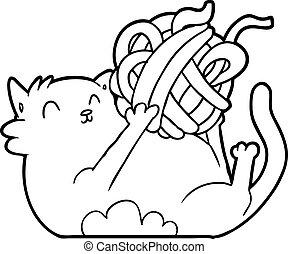 gato, pelota, juego, cuerda, caricatura