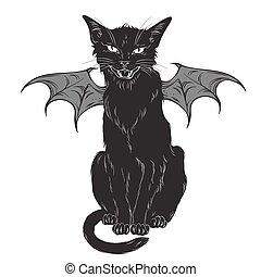 gato preto, com, monstro, asas