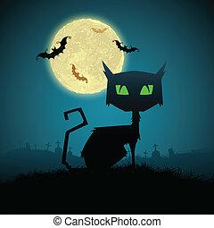 gato preto, em, noite halloween