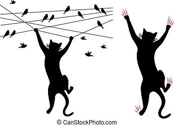 gato preto, escalando, pássaros, ligado, fio, vetorial