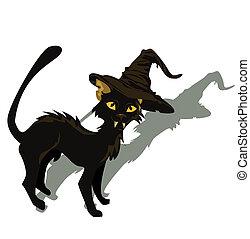 gato preto, para, dia das bruxas, design., vetorial, illustration.