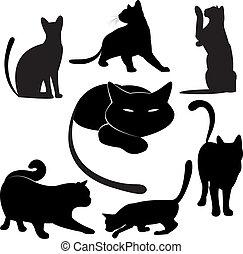 gato preto, silueta, coleções