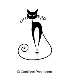gato preto, silueta, para, seu, desenho