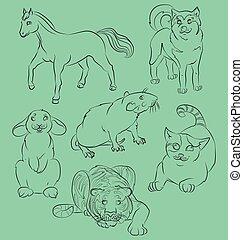 gato, rato, coelho, tiger, cavalo, e, cão