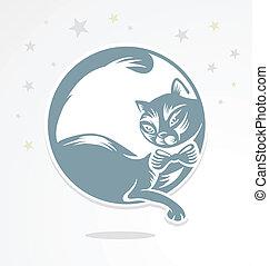 gato, se sienta, romántico, moon.