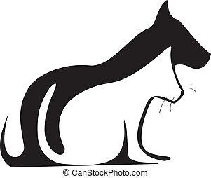 gato, silhuetas, cão, logotipo