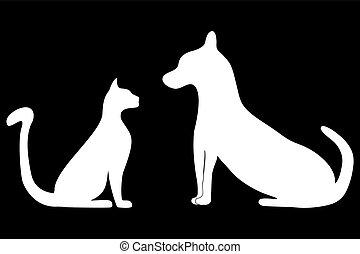 gato, silhuetas, cão