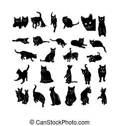 gato, silueta, colección