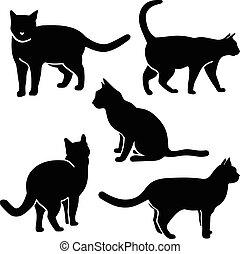gato, silueta, vector