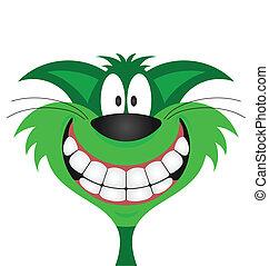 gato, sonreír feliz, verde