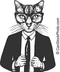 gato, traje, anteojos
