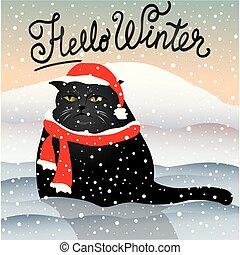 gato, triste, nieve, sentado