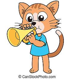 gato, trompeta, juego, caricatura