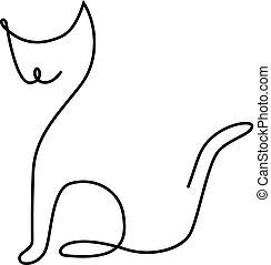 gato, uno, línea