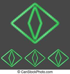 gato verde, olho, logotipo, desenho, jogo