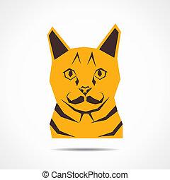 gato, vetorial, criativo, rosto