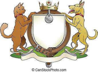gato, y, perro, mascotas, heráldico, protector, escudo de...