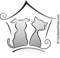 gato, y, perro, refugio