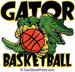 gator basketball team design with mean mascot for school, college or league