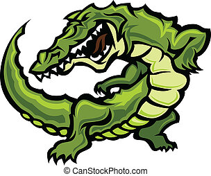 Gator or Alligator Mascot Body Vect - Graphic Vector Image...