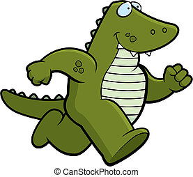 Gator Running - A happy cartoon gator running and smiling.