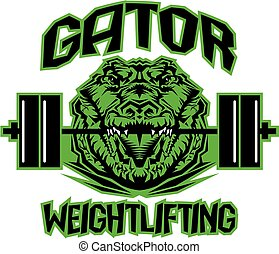 gator weightlifting team design with mascot and barbell for...