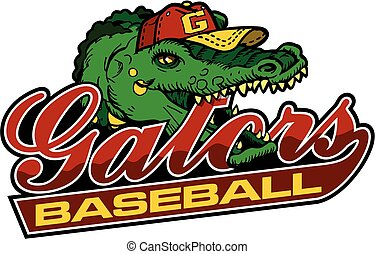 gators baseball team design in script with mascot for...