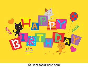 gatos, aniversário, feliz
