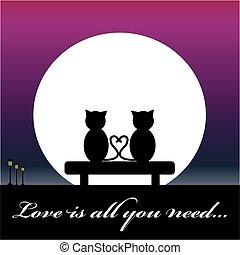 gatos, apaixonadas, sentar-se banco, com, lua
