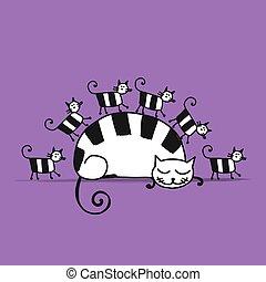 gatos, bosquejo, familia , diseño, su