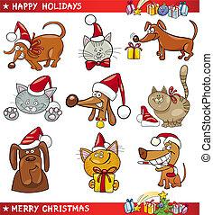 gatos, caricatura, conjunto, perros, navidad