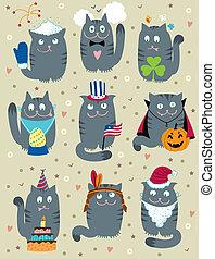 gatos, celebrar, vacaciones