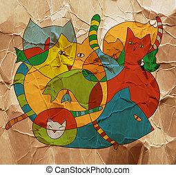 gatos, divertido, tarjeta