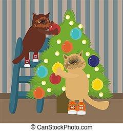 gatos, dois, árvore natal, decorando, nicw