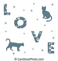 gatos, e, e, a, inscrição, amor, com, traces.