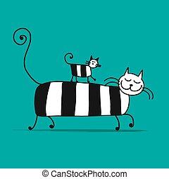 gatos, família, esboço, para, seu, desenho
