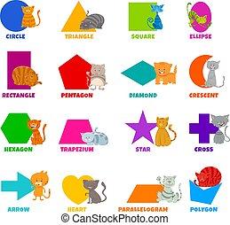 gatos, formas, caracteres, geométrico, conjunto