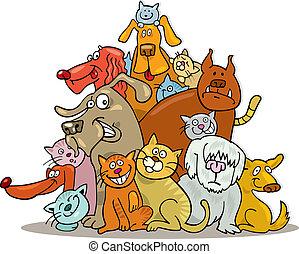 gatos, grupo, cachorros