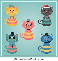 gatos, hipster, invierno, ilustración