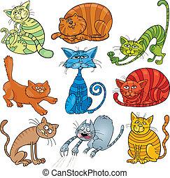 gatos, jogo, caricatura