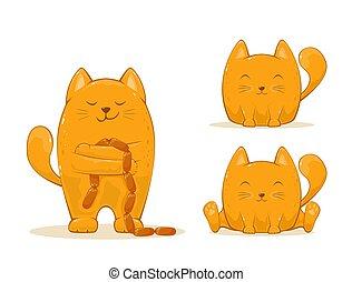 gatos, jogo, vermelho, feliz