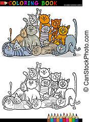 gatos, libro colorear, ilustración, caricatura