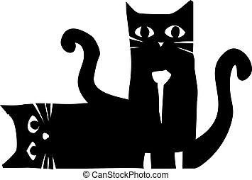 gatos, negro, dos