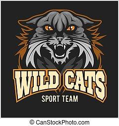 gatos salvajes, deporte, equipo, -, logotype, emblema