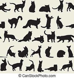 gatos, seamless, plano de fondo