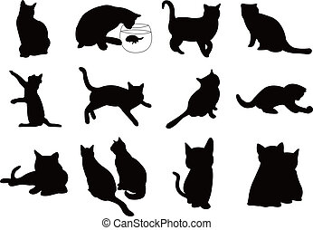 gatos, silueta, ilustración