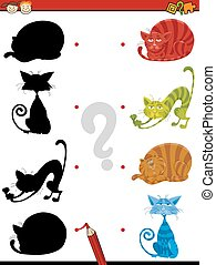 gatos, sombra, tarea, niños