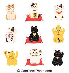 gatos, suerte, dinero, conjunto, atraer, japonés, maneki, neko