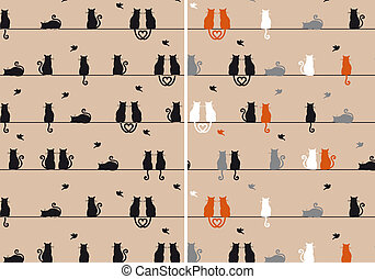 gatos, vetorial, seamless, padrão